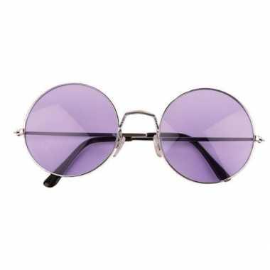 Carnavalskleding ronde hippie / flower power bril xl paars helmond