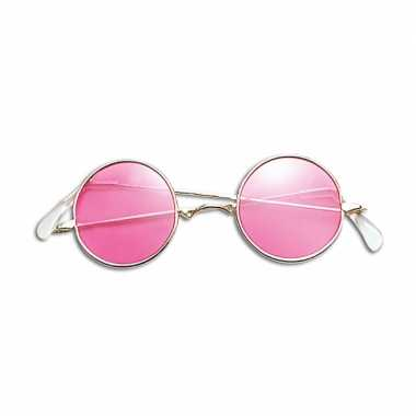 Carnavalskleding ronde hippiebril roze helmond