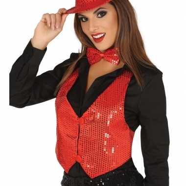 Carnavalskleding rood gilet glitters/pailletten dames helmond