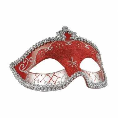 Carnavalskleding rood/zilver glitter oog masker dames helmond