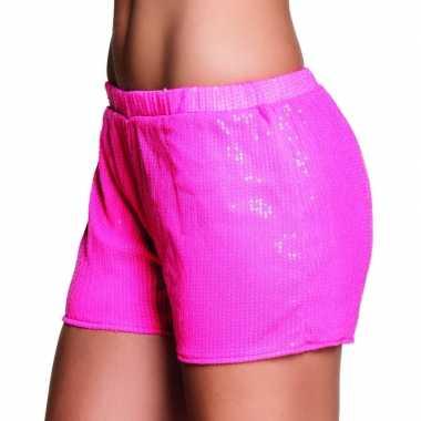 Carnavalskleding roze dames hotpants pailletten helmond