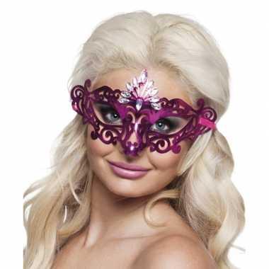 Carnavalskleding roze diamant oog masker dames helmond
