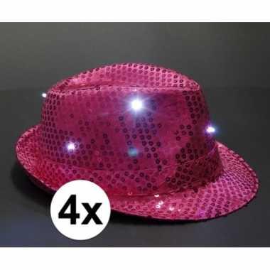 Carnavalskleding roze glitter hoedjes led licht stuks helmond