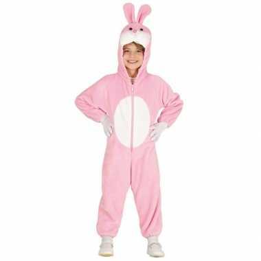 Carnavalskleding roze konijn/haas kinderen helmond