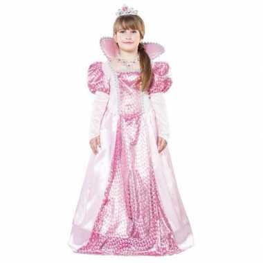 Carnavalskleding roze koninginnen verkleedjurk kroon meisjes helmond