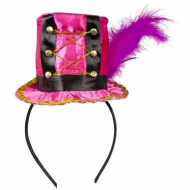 Carnavalskleding roze mini hoedje diadeem helmond
