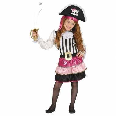 Carnavalskleding roze piraten jurkje helmond