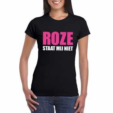 Carnavalskleding roze staat mij niet toppers t shirt zwart dames helm