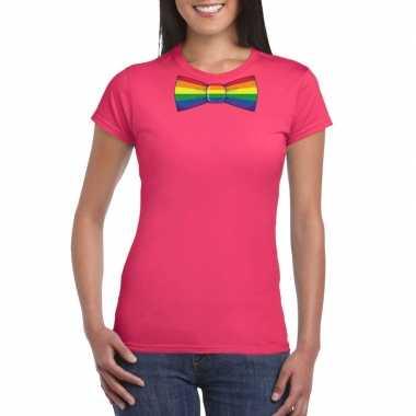 Carnavalskleding roze t shirt regenboog vlag strikje dames helmond