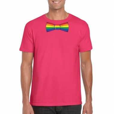 Carnavalskleding roze t shirt regenboog vlag strikje heren helmond