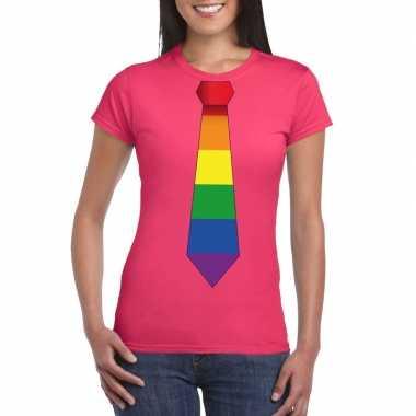 Carnavalskleding roze t shirt regenboog vlag stropdas dames helmond