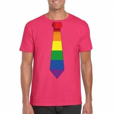 Carnavalskleding roze t shirt regenboog vlag stropdas heren helmond