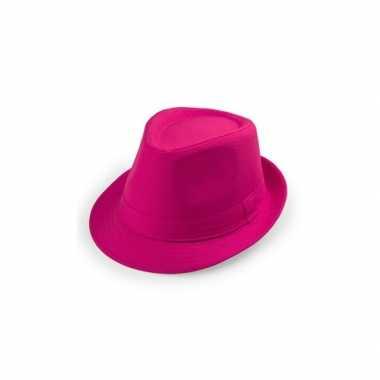 Carnavalskleding roze trilby hoeden helmond
