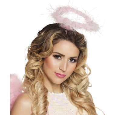 Carnavalskleding roze veren engelen hoofdband helmond