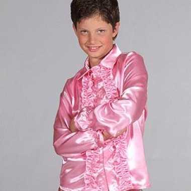 Carnavalskleding satijnen blouse roze kinderen helmond