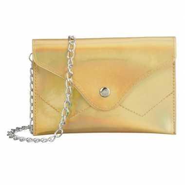 Carnavalskleding schoudertasje/handtasje metallic goud helmond