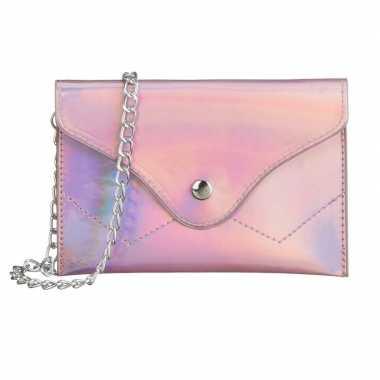 Carnavalskleding schoudertasje/handtasje metallic roze helmond