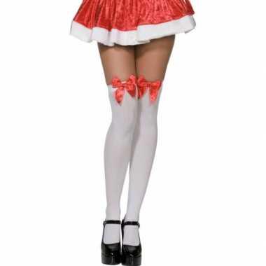Carnavalskleding  Sexy kerst kniekousen wit dames helmond