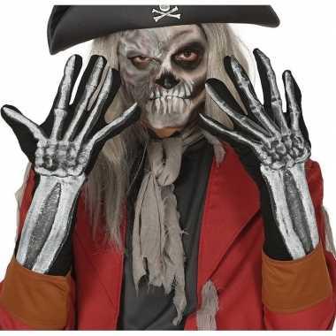 Carnavalskleding skelet horror verkleed handschoenen volwassenen helm