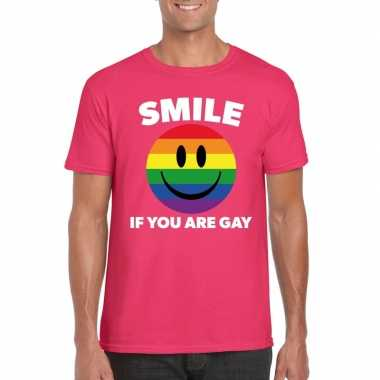 Carnavalskleding smile if you are gay emoticon shirt roze heren helmo