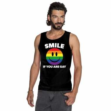 Carnavalskleding smile if you are gay emoticon tanktop/ singlet shirt