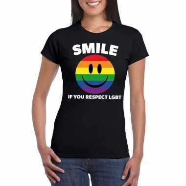 Carnavalskleding smile if you respect lgbt emoticon shirt zwart dames