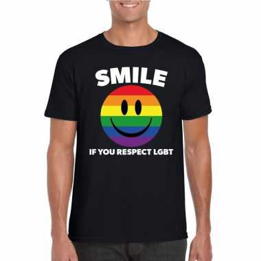Carnavalskleding smile if you respect lgbt emoticon shirt zwart heren
