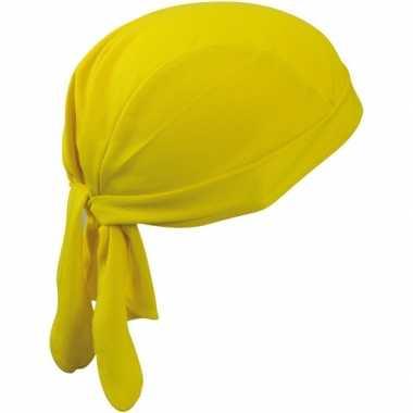 Carnavalskleding sport bandana geel helmond