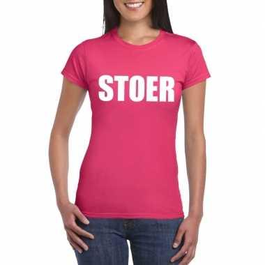 Carnavalskleding stoer tekst t-shirt roze dames helmond