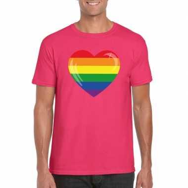 Carnavalskleding t shirt roze regenboog vlag hart roze heren helmond