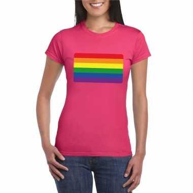 Carnavalskleding t shirt roze regenboog vlag roze dames helmond
