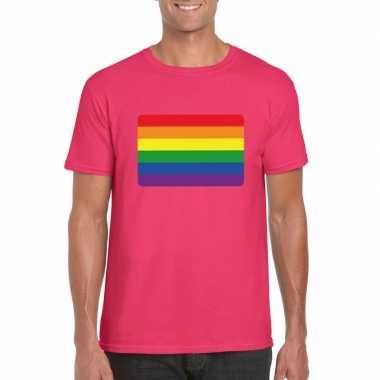 Carnavalskleding t shirt roze regenboog vlag roze heren helmond