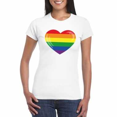 Carnavalskleding t shirt wit regenboog vlag hart wit dames helmond