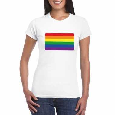 Carnavalskleding t shirt wit regenboog vlag wit dames helmond