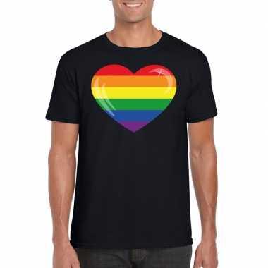 Carnavalskleding t shirt zwart regenboog vlag hart zwart heren helmon