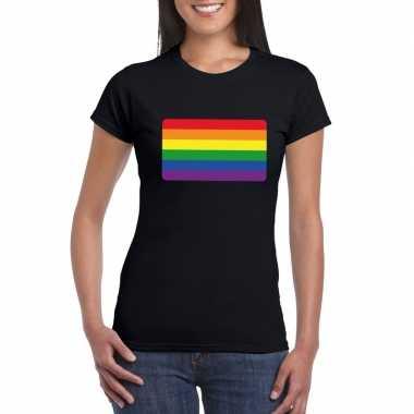 Carnavalskleding t shirt zwart regenboog vlag zwart dames helmond