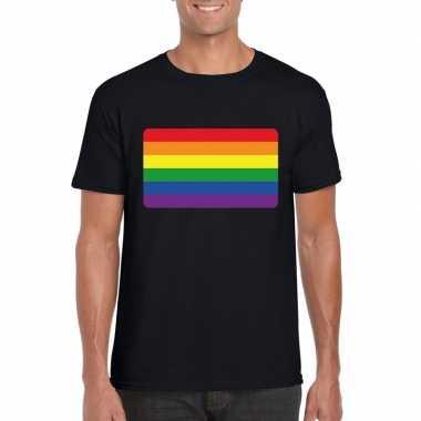 Carnavalskleding t shirt zwart regenboog vlag zwart heren helmond