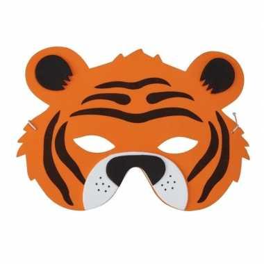 Carnavalskleding tijger foam dierenmasker kinderen helmond