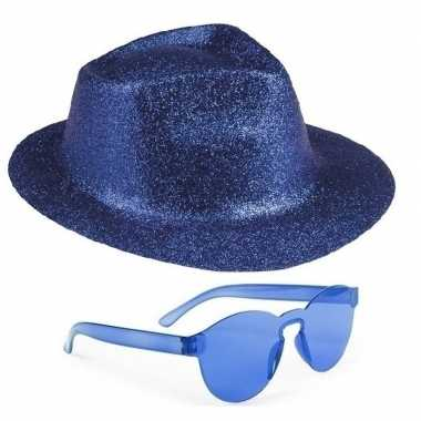 Carnavalskleding toppers blauw trilby glitter party hoedje blauwe zon