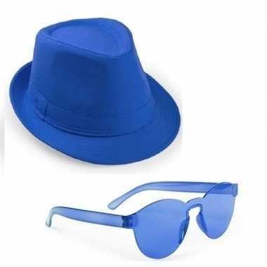 Carnavalskleding toppers blauw trilby party hoedje blauwe zonnebril h