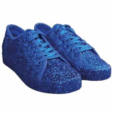 Carnavalskleding toppers blauwe glitter disco sneakers/schoenen dames