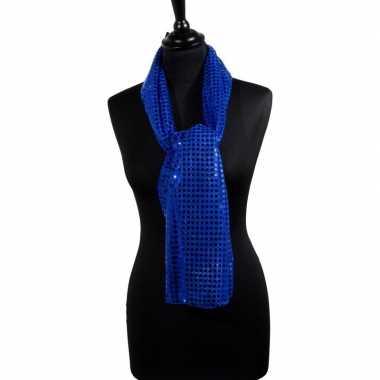 Carnavalskleding toppers blauwe glitter pailletten disco sjaal helmon