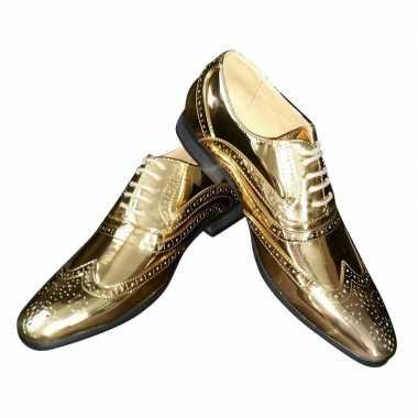 Carnavalskleding toppers gouden glimmende brogues/disco schoenen here