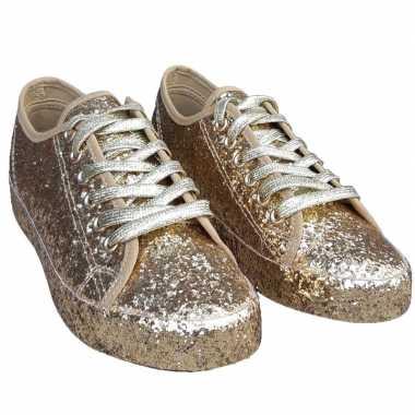 Carnavalskleding toppers gouden glitter disco sneakers/schoenen dames