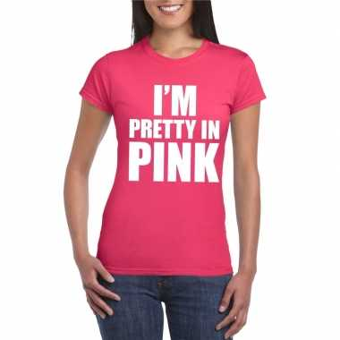 Carnavalskleding toppers i am pretty pink shirt roze dames helmond