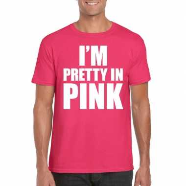 Carnavalskleding toppers i am pretty pink shirt roze heren helmond