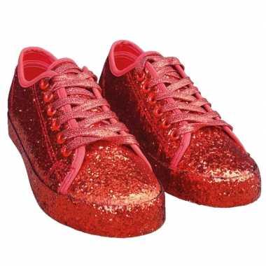 Carnavalskleding toppers rode glitter disco sneakers/schoenen dames h