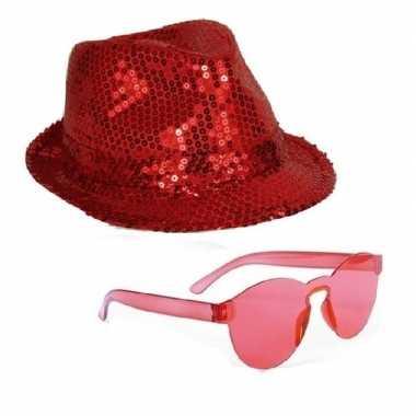 Carnavalskleding toppers rood trilby glitter party hoedje rode zonneb