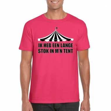 Carnavalskleding toppers t shirt roze lange stok heren helmond