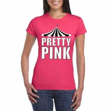 Carnavalskleding toppers t shirt roze pretty pink witte letters dames